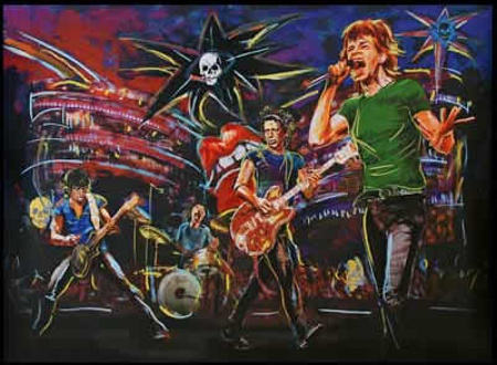 Skulls on stage by Ronnie Wood